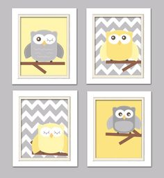 Yellow and gray nursery, Nursery Owl Art, Grey and Yellow Nursery, Owl Nursery, Set of 4 8x10 on Etsy, $42.00