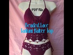 Crochet Lace Tankini Halter Top With Matching Lace Bottoms - Written Downloadable Pattern - YouTube