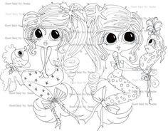 INSTANT DOWMLOAD Digital Digi Stamps Big Eye Big Head Dolls Digi  My Besties My Best Friend Mermaid By Sherri Baldy