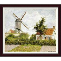 """Global Gallery Windmill at Knock, Belgium by Camille Pissarro Framed Painting Print Size: 28.87"""" H x 34"""" W"""