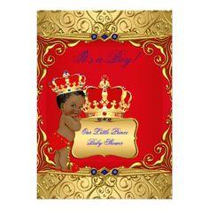 Cute Ethnic Baby Shower Boy Regal Red Royal Blue Card