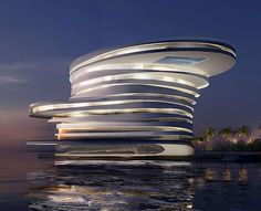 Leeser Architecture wins design competition for five-star hotel in Zayed Bay, Abu Dhabi - The Helix Hotel looks amazing. I'd love to see this in person. Hotel Architecture, Futuristic Architecture, Contemporary Architecture, Amazing Architecture, Architecture Design, Unusual Buildings, Amazing Buildings, Modern Buildings, Abu Dhabi