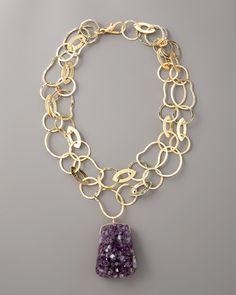Amethyst geode necklace by Nest at Neiman Marcus Jewelry Crafts, Jewelry Art, Jewelry Accessories, Fashion Jewelry, Women Jewelry, Silver Bracelets For Women, Sterling Silver Bracelets, Silver Ring, Silver Earrings