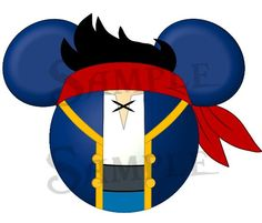 Set of Jake and the Neverland Pirates character inspired DIGITAL printable Mickey head files DIY. $4.00, via Etsy