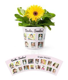 Kindergarten Blumentopf Geschenk für eine Gruppe mit 16 Kindern ❤️  Personalisiert mit Fotos, Namen der Kinder und Name der Gruppe