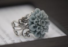 Gray Blue Chrysanthemum Filigree Antiqued Silver Adjustable Ring