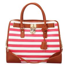 Nice Michael Kors Striped Lock Large Pink Totes,75% Discount OFF! #fashion #style