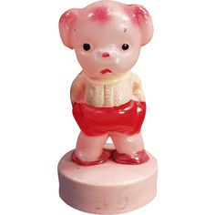 Old, Celluloid Tape Measure - Pouting Pink Puppy