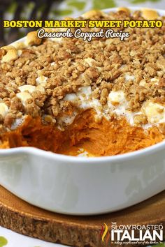 Sweet Potato Casserole Boston Market Copycat Recipe ~ Says: Whether its for Thanksgiving or a movie night this copycat Boston Market Sweet Potato Casserole is going to blow your mind. Rich mashed sweet potatoes with butter, cream, brown sugar and spices are topped with marshmallow and a scrumptious crisp brown sugar streusel. The consummate side for any meal.