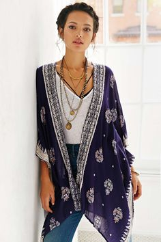 loving this kimono over white tees and swimsuits