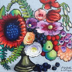 """""""Red Sunflower Party"""" by Ande Hall 10""""x10"""" $100 Free Shipping to US Lower 48 States  #sunflowerart #redsunflower #flowerpainting #andehallart #berrypainting #floralpainting"""