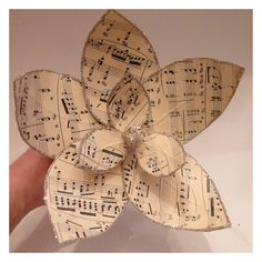 Holiday Ornament DIY: How to Make Paper MAGNOLIAS from Vintage Sheet Music
