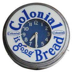 Neon Advertising Clock For Colonial Bread Advertising And Promotion, Advertising Signs, Vintage Advertisements, Old Clocks, Antique Clocks, Vintage Clocks, Radios, Colonial, Art Deco Design