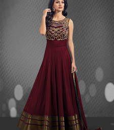 Buy Maroon art-silk embroidered semi stitiched salwar with dupatta party-wear-salwar-kameez online
