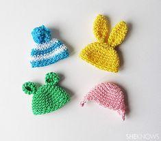Crochet Easter egg hats: Finished hats