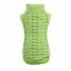 DZT1968(TM)Winter Dog Pet Clothes Woolen Sweater Knitwear Puppy Clothing Hemp Flowers High Collar Coat (Green, XS) ** Hurry! Check out this great product : Dog Apparel and Accessories