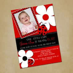 Ladybug  Flowers Personalized Birthday by PinkSkyPrintables, $11.00