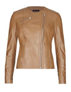 Tan Petite Leather Biker Jacket
