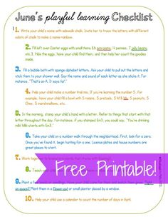 Printable checklist sharing 10 simple ways to teach literacy, math and science with little or no set up.