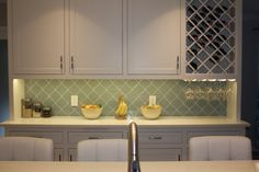 Seafoam Arabesque Glass Mosaic Tiles