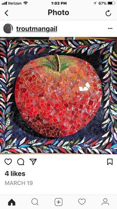 So lifelike you can imagine the crunch when you bite into it. Mosaic Artwork, Mosaic Wall, Mosaic Tiles, Tiling, Glass Wall Art, Stained Glass Art, Stone Mosaic, Mosaic Glass, Paper Mosaic