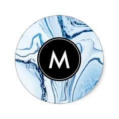 Chic Marble Monogram Stickers - monogram gifts unique design style monogrammed diy cyo customize