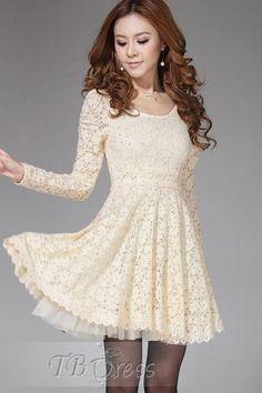 Slim Long Sleeves Full Lace Dress
