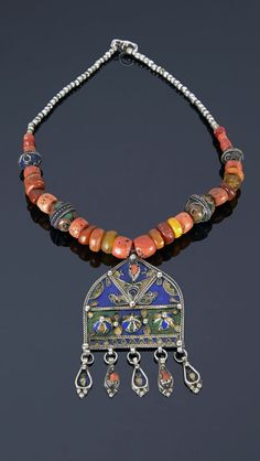 Morocco - Anti Atlas region | Necklace; faux amber and coral beads combined with silver and enamel beads, pendant silver with enamel and coral cabochons | 471€ ~ sold (May '15)