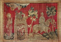 """Bataille,Nicolas.Apocalypse d'Angers,1373-1387,a series of tapestries   woven for Louis I.,Duke of Anjou.   The fourth seal: """"A pale horse and his name that sat on him was Death and Hell followed with him. And power was given unto them over the fourth part of the earth to kill with sword, and with hunger and with death and with the beasts of the earth..""""    Musse de la  Tapisserie,Angers,France"""
