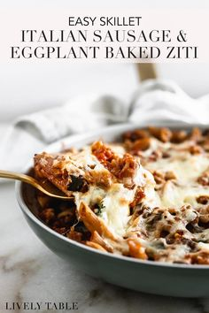 This easy eggplant and Italian sausage skillet baked ziti is a healthier, comforting pasta dinner loaded with vegetables, Italian sausage and ricotta that only takes one skillet a pot to boil noodles. Perfect for date night in or weeknight family dinners! #bakedzitirecipe #bakedziti #italiansausage #eggplantrecipes #pastarecipes #skilletbakedrecipes #onepotrecipe #easypastarecipes #easydinnerrecipes #weeknightdinner #healthyweeknightdinner #datenightdinner #oneskilletrecipe…