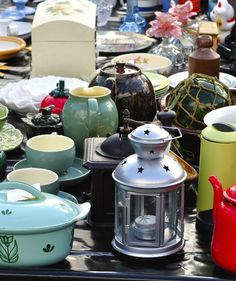 You can find great deals on so many unique pieces at a flea market. Some are perfect as they are and others can be easily updated with a coat of paint, new knobs, or lamp shades.""