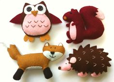 Felt Plushie Woodland Collection Handsewing Pattern PDF. Complete instructions to make owl, hedgehog, squirrel and fox plushies.
