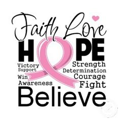 Faith , love , hope , victory , support , win , awarness , believe , strength , determination , courage , fight . cancer , breast cancer