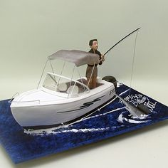 Yeners Cakes - Fishing Man on A Boat Cake. 3d Cakes, Cupcake Cakes, Boat Cake, Fishing Boats, Fishing Cakes, Boat Theme, Fish Man, Cakes For Men, Specialty Cakes