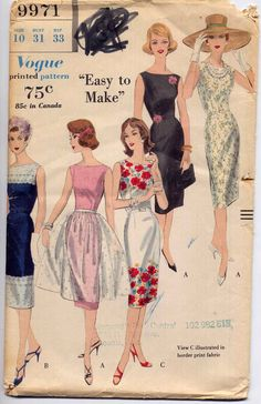 Vintage Vogue 1960s Easy Sleeveless Dress and Apron Overskirt Sewing Pattern Vogue 9971 Bust 31. $11.95, via Etsy.