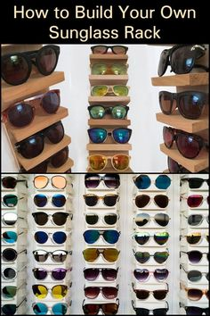 Display your favorite sunnies while getting organized with this specialized shelf. Sunnies, Sunglasses, Saving Ideas, Build Your Own, Getting Organized, Space Saving, Shelf, Display, Projects