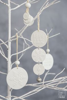 "‹Believe in the magic of christmas"". Porcelain ornaments by räder. - ‹Believe in the magic of christmas"". Porcelain ornaments by räder. Clay Christmas Decorations, Christmas Clay, Christmas Balls, Winter Christmas, Christmas Holidays, Christmas Crafts, White Christmas Ornaments, Navidad Diy, Clay Ornaments"