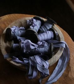 Periwinkle Blue & Blue Slate is a uniquely dual toned hand dyed ribbon.