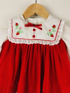c77f5e2a9ce3 Vintage Pinafore Baby Dress Red Velvet with White Eyelet Perfect for  Valentine s Day or Christmas.