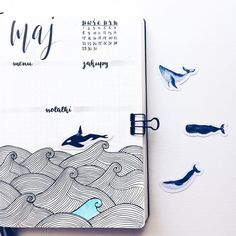 Sea themed bullet journal layout #WilliamHannahUK #BecauseWritingHelps #bujo #bulletjournal #bulletjournaling #diary #planner #stationeryaddict #notebook www.williamhannah.com