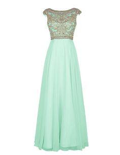 Bbonlinedress Elegant Floor Length Beading Bridesmaid Cap Sleeve Prom Evening Dresses Mint 8