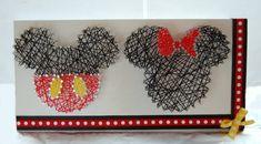 Mickey and Minnie String Art ~ Disney String Art ~ Custom Wall Art ~ Personalized String Art ~ Nursery Decor Sign ~ Retro