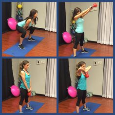 Kettle bells are awesome! Try doing 4 sets and 15 reps of swings and upright rows:)
