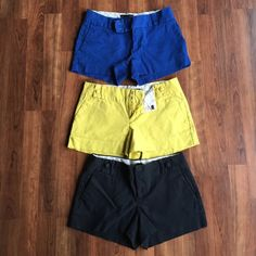 "*BUNDLE* 3 Pairs of Banana Republic Shorts 3 pairs of Banana Republic shorts! Blue, black, and yellow. All size 0. All about 2.5"" inseam. Yellow and black has cute button detail on waist band. Look great with a tucked in shirt! Great used condition! No buttons missing or anything. Price includes all 3 and will ship together! Banana Republic Shorts"