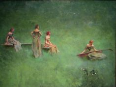 "sadnessdollart:  Thomas Wilmer Dewing, ""The Lute"" (1904)"