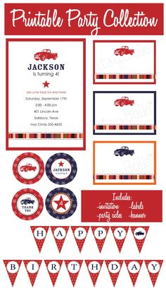 Vintage Truck Collection - PRINTABLE PARTY PACKAGE by ItsyBelle. $35.00, via Etsy.
