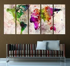 Large abstract world map wall art canvas extra by ArtCanvasShop