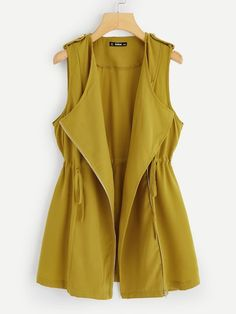 To find out about the Drawstring Waist Asymmetric Zip Placket Vest at SHEIN, part of our latest Outerwear ready to shop online today! Frock Fashion, Abaya Fashion, Fashion Outfits, Blouse Styles, Blouse Designs, Iranian Women Fashion, Hijab Style, Casual Hijab Outfit, Stylish Clothes For Women