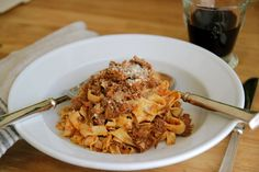 Slow Simmered Beef Ragu | Tomatoes, Wine, Thyme, Rosemary, Cream & Parmesan - Jenny Steffens Hobick