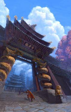 Temple Gate, db Kim on ArtStation at https://www.artstation.com/artwork/temple-gate